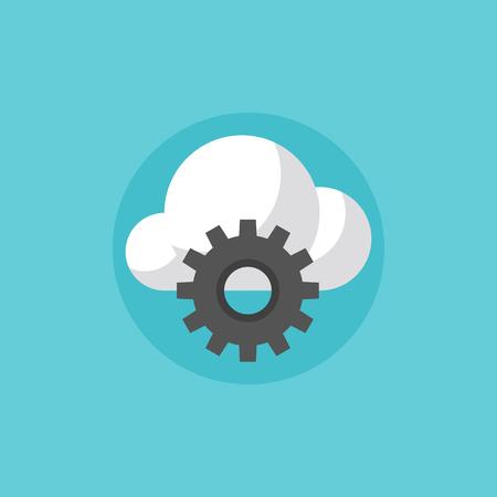 meseros: Cloud computing servicios de desarrollo, la comunicación de red inalámbrica, red de alojamiento ordenador. Icono plana moderno estilo de diseño de ilustración vectorial concepto.
