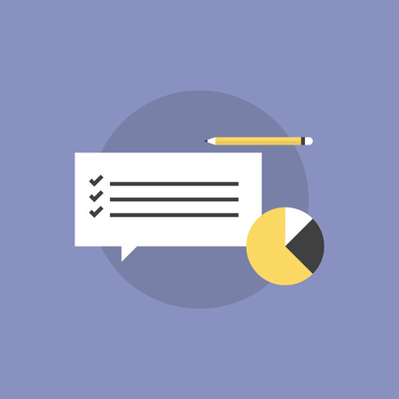 inquiry: Customer service survey checklist with business graph and pencil. Flat icon modern design style vector illustration concept.
