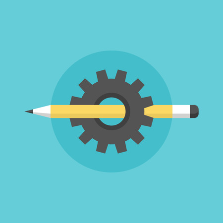 Creating and building process, sketching pen tool with cogwheel mechanism, technical sketch organization. Flat icon modern design style vector illustration concept. Vector