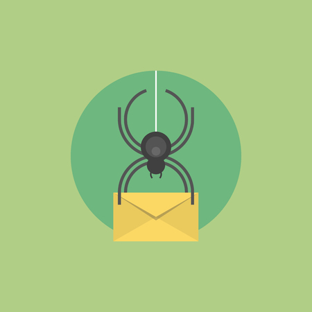 detected: E-mail virus attack, internet trojan detected, mail envelope with infection data, internet security protection. Flat icon modern design style vector illustration concept.