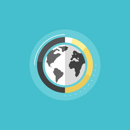 전세계에: 빅 데이터 분석, 글로벌 정보 연구 및 세계 통계, 기업 비즈니스 그래프 기호. 플랫 아이콘 현대적인 디자인 스타일의 벡터 일러스트 레이 션 개념입니다.