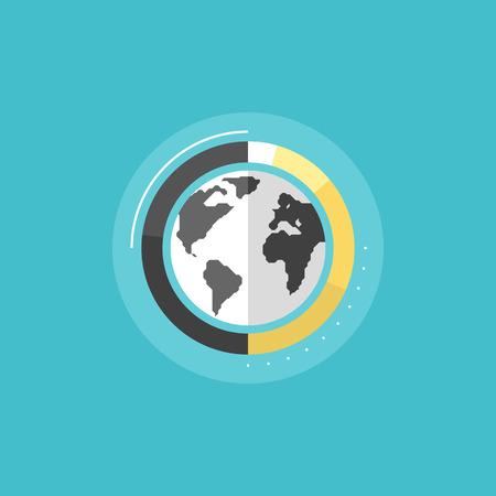 graph: Big Data Analytics, globalen Informations Forschung und Welt statistiken, Corporate Business-Grafik Zeichen. Wohnung Symbol modernen Design-Stil Vektor-Illustration Konzept.