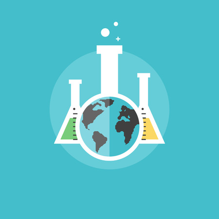 reaction: Global chemistry analysis, chemical test and scientific experiments, laboratory equipment. Flat icon modern design style vector illustration concept.