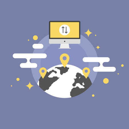 local business: Worldwide communication via the internet, global place connection, technology navigation service. Flat icon modern design style vector illustration concept.