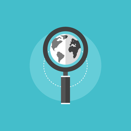 flat earth: Global search engine optimization process with magnifier lens and world globe. Flat icon modern design style vector illustration concept.