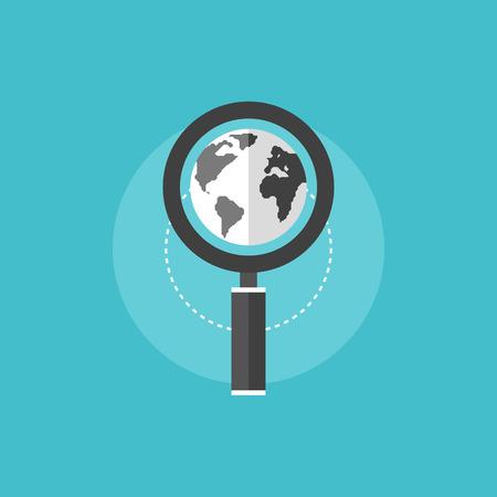 Proceso global de optimización de motor de búsqueda con lente de la lupa y el globo del mundo. Icono plana moderno estilo de diseño de ilustración vectorial concepto.