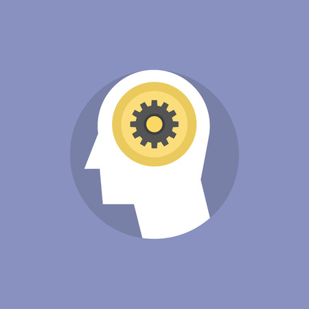 planning process: Thinking process of human brain, brainstorming for creative innovative ideas, finding solution and solving problem. Flat icon modern design style vector illustration concept.