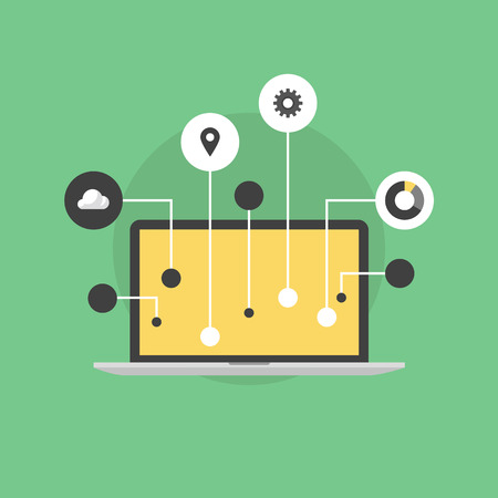 Internet de la comunicación tecnológica cosas equipo, la innovación en el flujo de trabajo empresarial, conexión futurista y conexión de dispositivos. Icono plana moderno estilo de diseño de ilustración vectorial concepto. Ilustración de vector