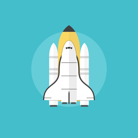 liftoff: Space shuttle for interstellar mission taking off on a mission, indicating a successful start of a new profitable business. Flat icon modern design style vector illustration concept.