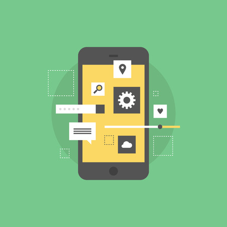 development process: Smartphone user interface development, creating mobile phone application, setting UI menu and navigation elements. Flat icon modern design style vector illustration concept. Illustration