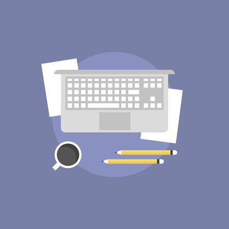 현대 노트북, 사무 용품과 커피 한잔 비즈니스 워크 플로우 개념. 플랫 아이콘 현대적인 디자인 스타일의 벡터 일러스트 레이 션 개념입니다.
