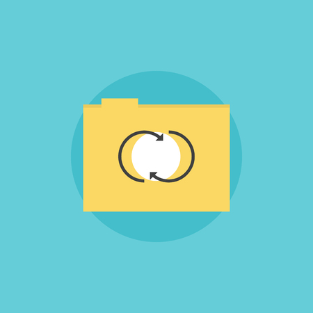 Network folder with updated files, internet storage communication service. Flat icon modern design style vector illustration concept. Vector