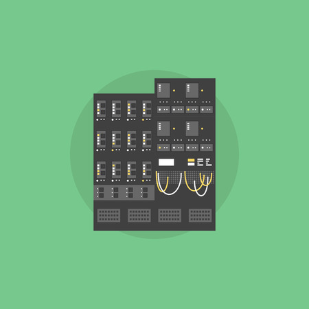 Network server data array, mainframe hosting computer, supercomputer rack unit. Flat icon modern design style vector illustration concept.