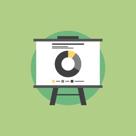 Präsentation Whiteboard mit Marktdaten und Statistiken für zukünftige Marketing-Kampagne und Unternehmensstrategien. Wohnung Symbol modernen Design-Stil Vektor-Illustration Konzept.