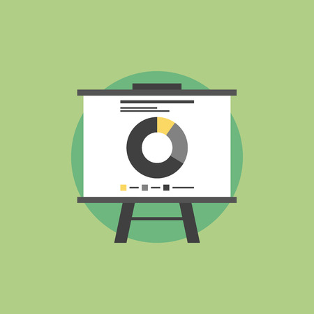 whiteboard: Presentation whiteboard with market data and statistics for  future marketing campaign and business strategies. Flat icon modern design style vector illustration concept.