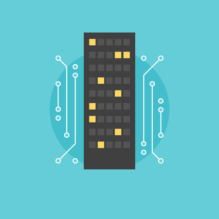 abstract building: Digital city infrastructure, futuristic skyscraper architecture, abstract building technology. Flat icon modern design style vector illustration concept.