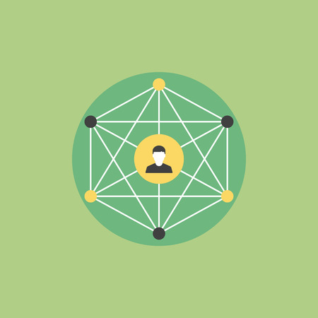 business relationship: Social network people communication, person friendship connection, human social media community. Flat icon modern design style vector illustration concept.