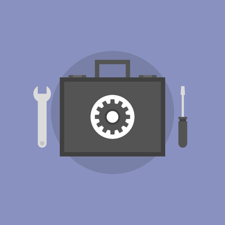 maintenance technician: Technical support and maintenance service, repair toolbox with tech instruments, help with hardware problem. Flat icon modern design style vector illustration concept.