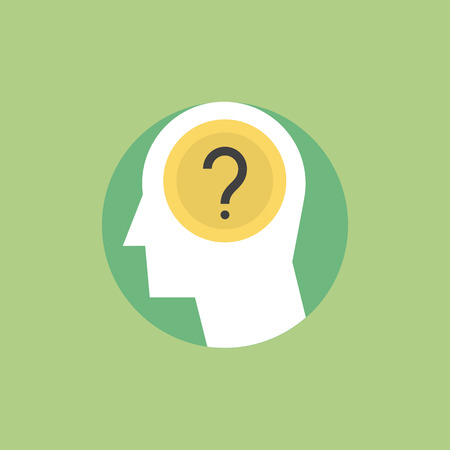 generates: Thinking process, brainstorming and generates new ideas, question mark in the head. Flat icon modern design style vector illustration concept. Illustration