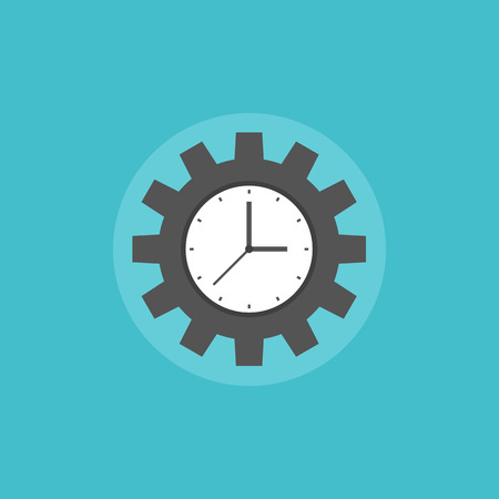 Concepto de gestión del tiempo que simboliza proceso de organización de las empresas de trabajo y el éxito productivo. Icono plana moderno estilo de diseño ilustración vectorial concepto.