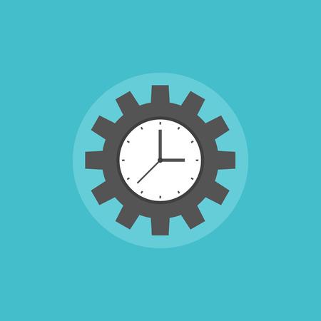 gestion: Concepto de gestión del tiempo que simboliza proceso de organización de las empresas de trabajo y el éxito productivo. Icono plana moderno estilo de diseño ilustración vectorial concepto.