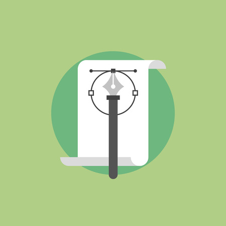 paper art projects: Pen tool with blank file, illustrator sketching process of making curves on the paper. Flat icon modern design style vector illustration concept. Illustration