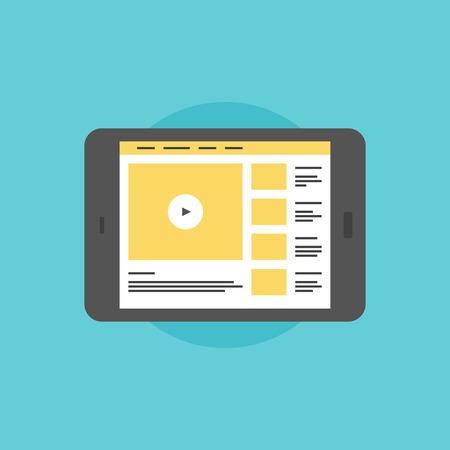 Online video service, internet streaming video sharing website on modern digital tablet. Flat icon modern design style vector illustration concept. Illustration