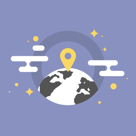 placement: Navigation mark on a world map, global office location, business placement pointer. Flat icon modern design style vector illustration concept.
