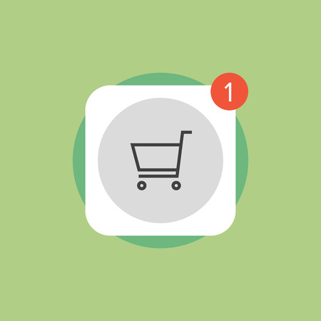 ecommerce icons: App store shopping cart with update symbol, online mobile application download button. Flat icon modern design style vector illustration concept.