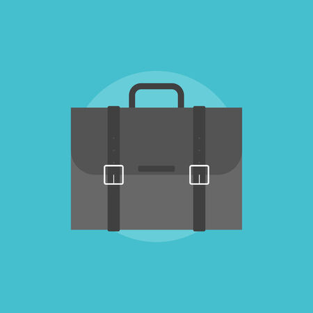 brief case: Business briefcase for travelling. Flat icon modern design style vector illustration concept. Illustration