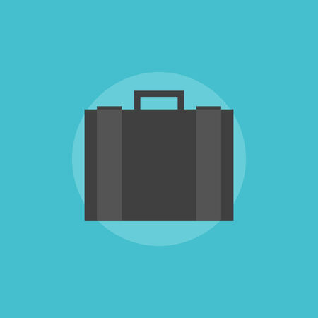 business briefcase: Business briefcase with documents. Flat icon modern design style vector illustration concept.