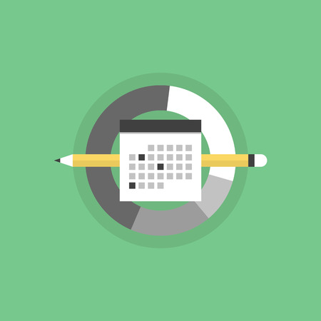 Business planning and office day schedule, personal time management organization process. Flat icon modern design style vector illustration concept.