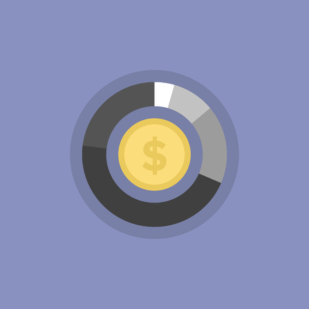 Money graph and financial statistics, company budget presentation, money making chart. Flat icon modern design style vector illustration concept.