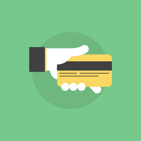 withdraw: Credit card payment process, hand holding credit card for banking information or for money withdraw. Flat icon modern design style vector illustration concept. Illustration