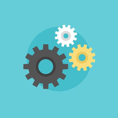 mechanism of progress: Gear and cogwheel mechanism, business cooperation metaphor, engineering industry abstract logo. Flat icon modern design style vector illustration concept.