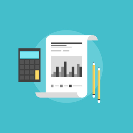 Company financial accounting, market statistics with calculator and pencils, corporate data analyzing. Flat icon modern design style vector illustration concept. Illustration