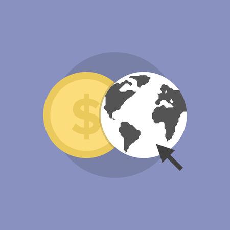 Web money conversion, online finance communication, internet trading and banking. Flat icon modern design style vector illustration concept. Illustration