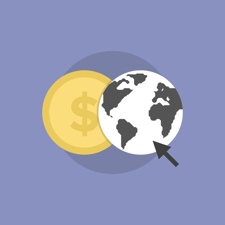 Web money conversion, online finance communication, internet trading and banking. Flat icon modern design style vector illustration concept. Vector