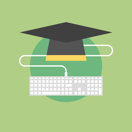 university: Online education concept, e-learning studying process, professional learning via internet web resources. Flat icon modern design style vector illustration concept.