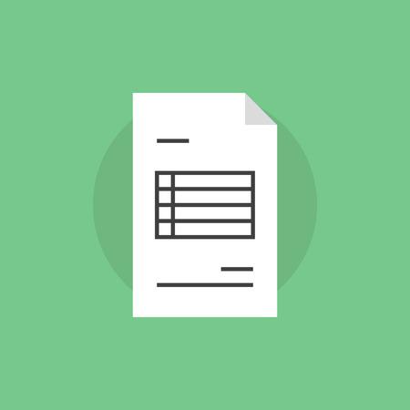 Factuur papier met financiële informatie. Vlakke icoon modern design stijl vector illustratie concept. Vector Illustratie