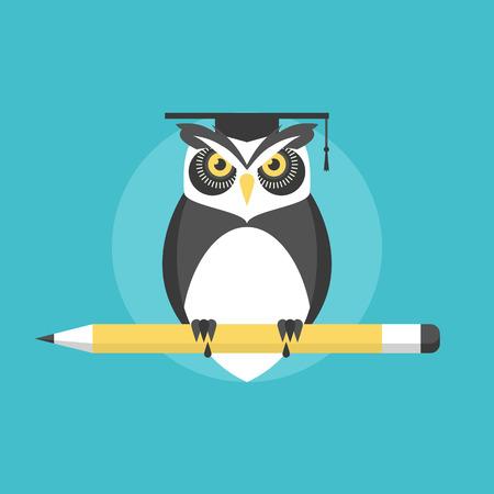 Wijze uil met potlood, universiteit afstuderen concept, kennis en wijsheid metafoor. Vlakke icoon modern design stijl vector illustratie concept.