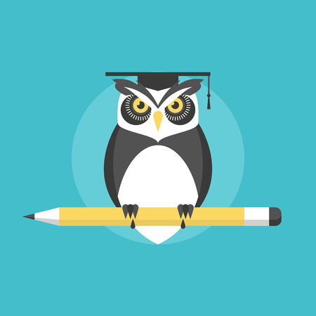 educating: Wise owl with pencil, university graduation concept, knowledge and wisdom metaphor. Flat icon modern design style vector illustration concept.