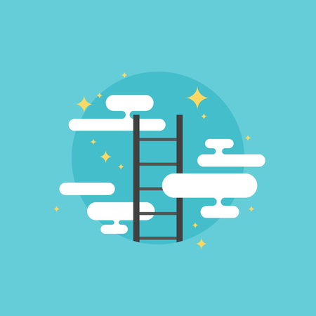 Ladder of success progress symbol, corporate business promotion, personal development strategy for reaching goal. Flat icon modern design style vector illustration concept.