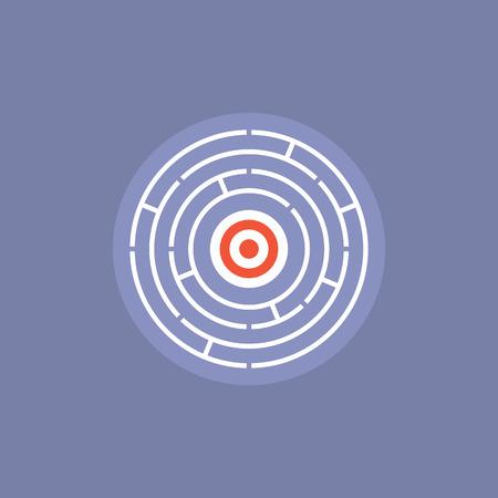 empresarial: Desafío laberinto con solución éxito dentro, encontrar el camino en situación confusa, complicada acertijo solución ganar-ganar. Icono plana moderno estilo de diseño de ilustración vectorial concepto. Vectores