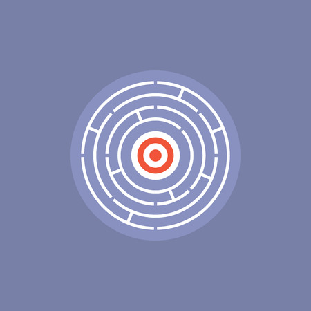 target thinking: Maze challenge with success solution inside, find the way in confused situation, complicated riddle win-win solving. Flat icon modern design style vector illustration concept.