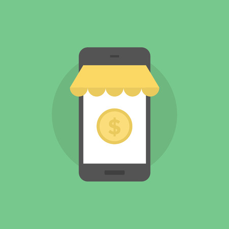 mobile commerce: Mobile commerce payment, online shopping on smartphone, m-commerce service. Flat icon modern design style vector illustration concept. Illustration