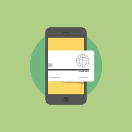 クレジット カード、おサイフケータイ技術、スマート フォンと無線支払を持つスマート フォン。フラット アイコン モダンなデザイン スタイル ベ