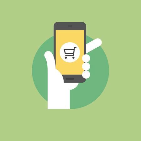 mercadotecnia: Concepto de compras móvil, sosteniendo la mano smartphone con aplicación comercial. Icono plana moderno estilo de diseño de ilustración vectorial concepto.