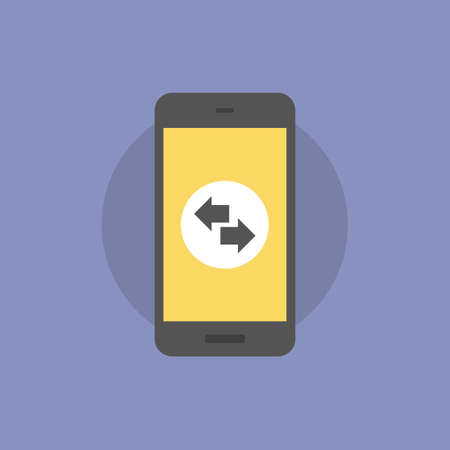 Direction arrows on mobile phone. Flat icon modern design style vector illustration concept.