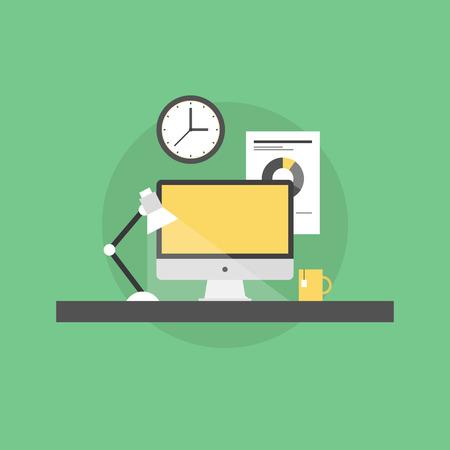 gestion documental: Oficina de trabajo de gerente corporativo con el ordenador de sobremesa y documento en papel financiero en una pared. Icono plana moderno estilo de dise�o de ilustraci�n vectorial concepto.